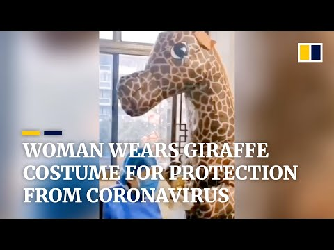 Woman wears giraffe costume for protection amid coronavirus outbreak in China