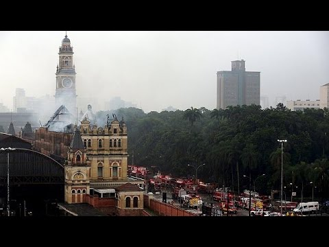 Brazil railway station blaze kills firefighter in Sao Paulo