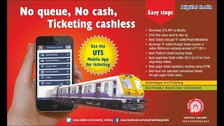 Indian Railways Unreserved Ticket Booking - UTS  APP | No Queue PaperLess CashLess Digital India