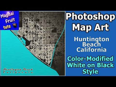 Photoshop Map Art Huntington Beach Modified-Color White On Black Style