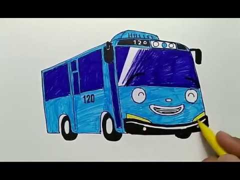 Cara Menggambar Dan Mewarnai Mobil Tayo How To Draw Tayo Youtube