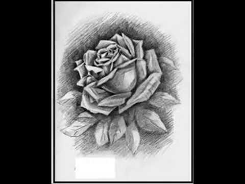 Dibujos a lapiz de rosas ,corazones y rostros - YouTube