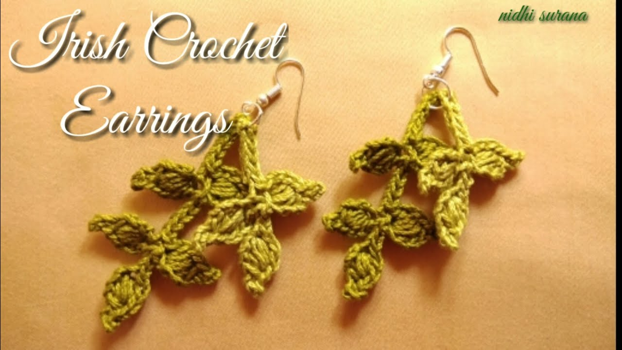 Diy Earrings Irish Crochet Branch With Leaves Youtube