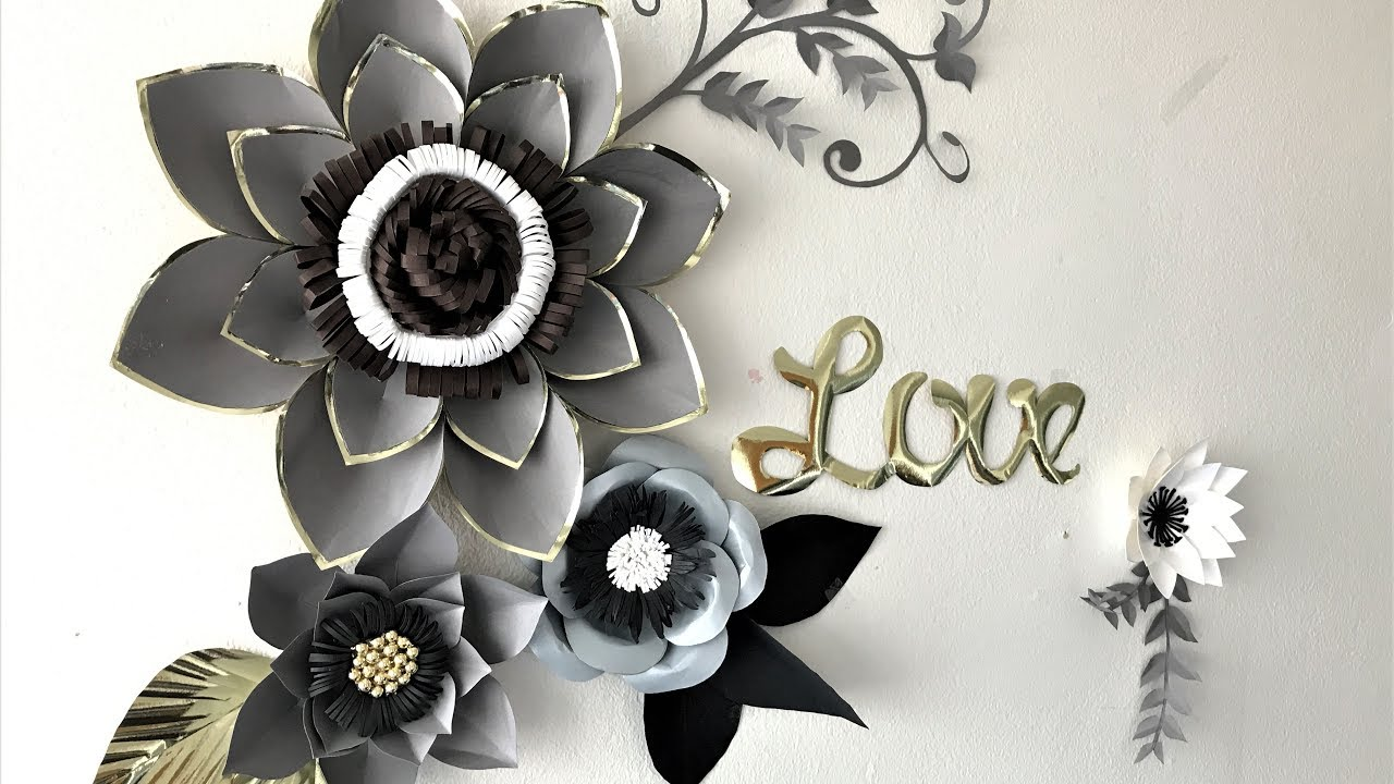 Backdrop Decoration For Wedding 3d Wall Decoration Paper Flowers