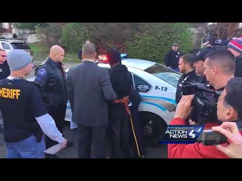 Raw video: New Kensington police murder suspect Rahmael Holt taken for arraignment