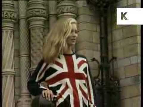 1997 Kate Moss in Union Jack Jumper, London Fashion Week Press Call, Archive Footage