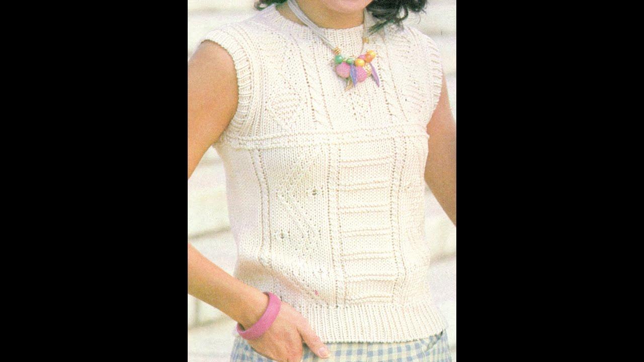 Patrón para tejer blusa sin mangas a 2 agujas - YouTube