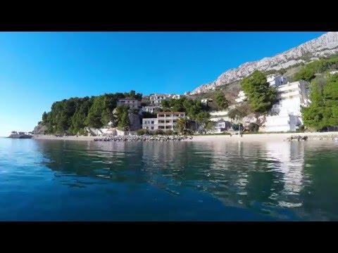 brela stomarica beach plaza - makarska riviera in 4k time lapse, dalmatia, croatia 06/02/2016