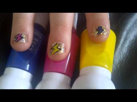 Lightning Bolt Nail Art Very Short Nails Youtube