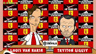 LOUIS VAN GAAL MANCHESTER UNITED PRESS CONFERENCE by 442oons for FullTimeDEVILS (football cartoon)