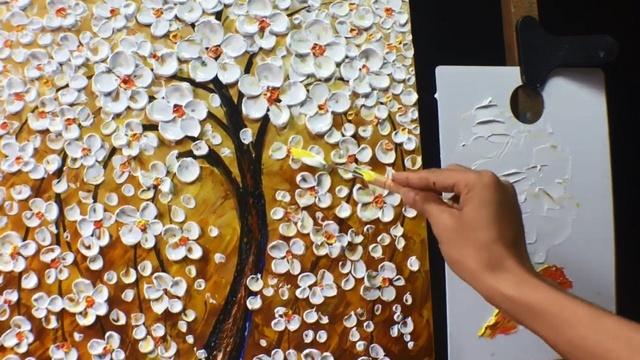 Thick paint white flowers acrylic painting youtube thick paint white flowers acrylic painting mightylinksfo
