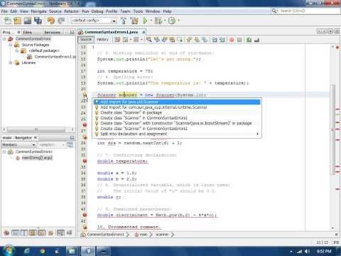Java Common Syntax Errors using NetBeans