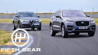 Fifth Gear Shoot Out Jaguar F Pace Vs Alfa Romeo Stelvio смотреть