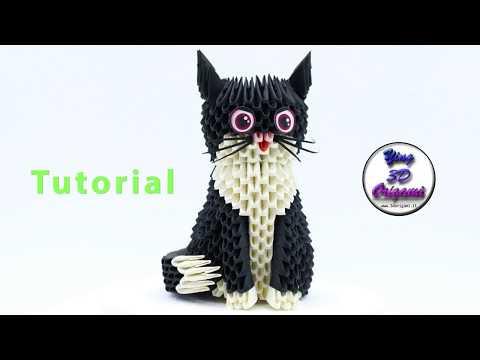 3D Origami Cat Tutorial 4K - Origami 3D Gattino Tutorial 4K