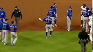 Cubs, Braves benches clear after hard slide