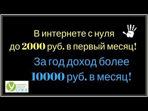Как в интернете с нуля уже в первый месяц получить 2000 р! И развить доход более 10000 р. в месяц!