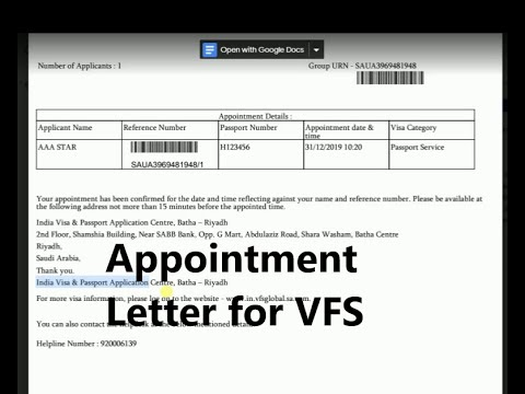 How to book (VFS Global Appointment letter for Passport)