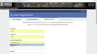 Account registration for EROS USGS