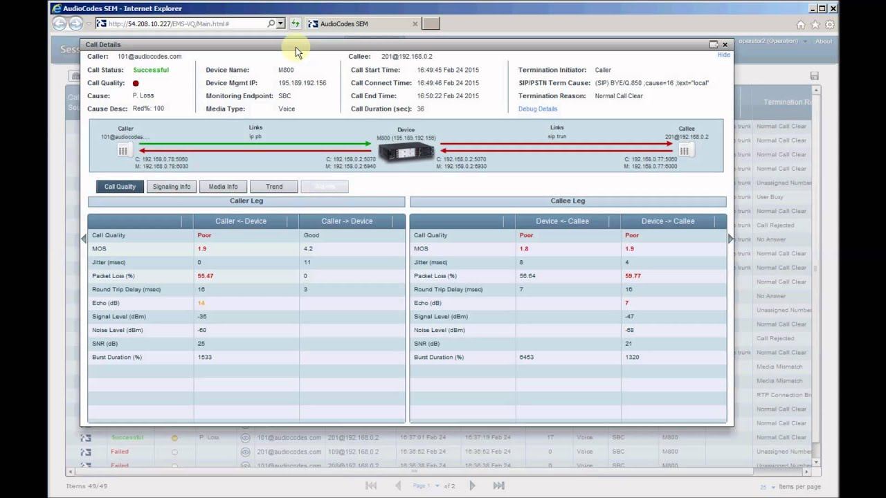 AudioCodes Session Experience Manager (SEM) - SIP Trunk Monitoring Service