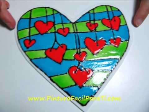 2 Corazones 3D Dia de San Valentin Falso Vitral 14 de Febrero Dia de los Enamorados Pintura Facil