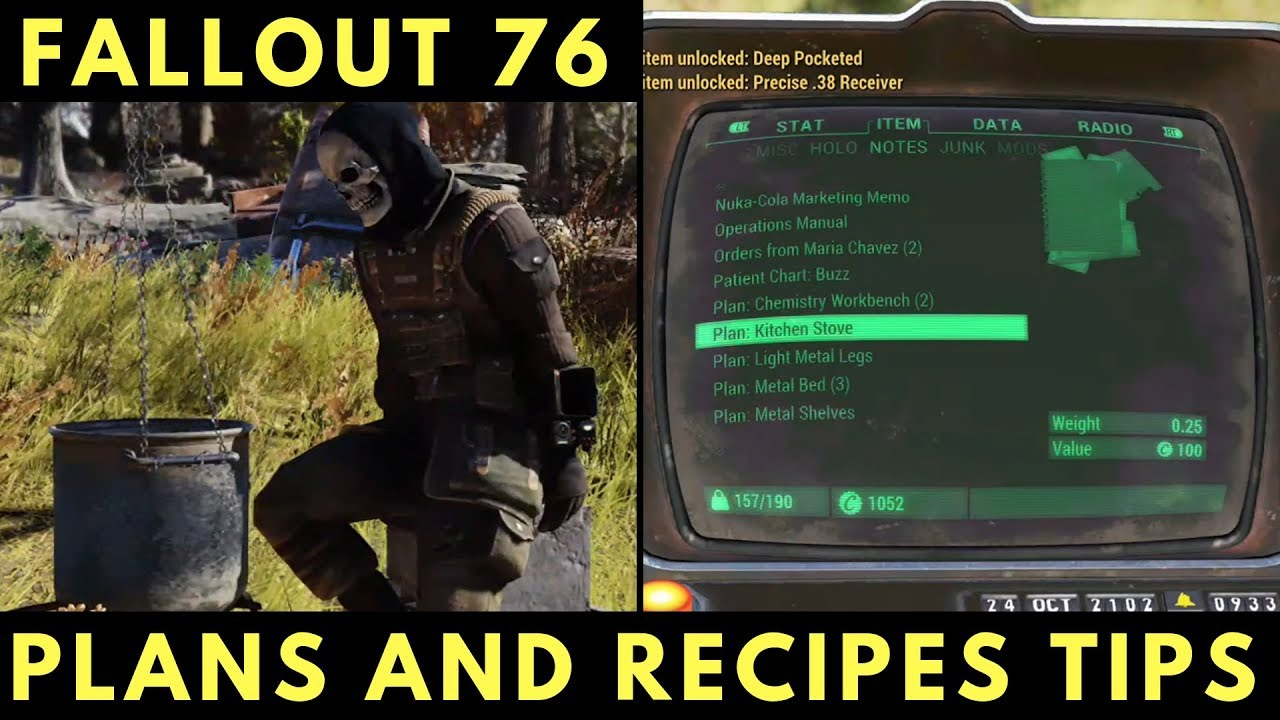 Fallout 76 Plans And Recipes Tips Youtube