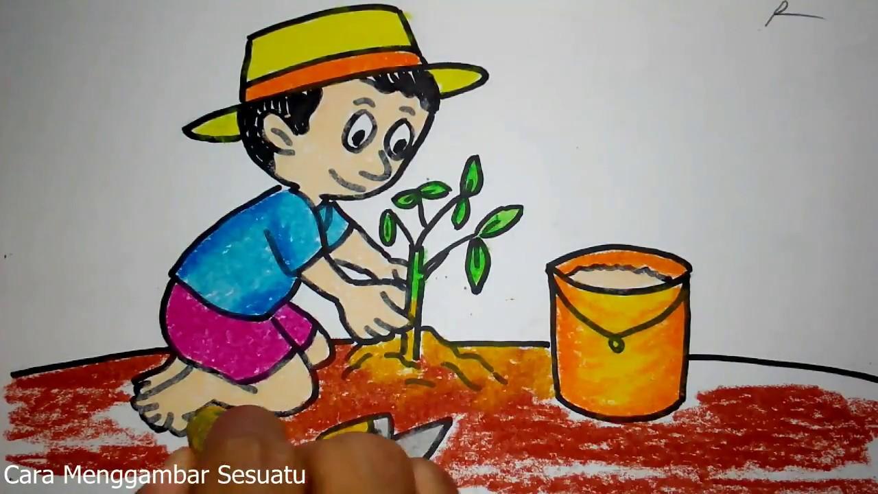 Cara Menggambar Anak Menanam Pohon YouTube