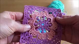 Квадрат крючком, цветок в квадрате, из пряжи Ромашка, Авторская работа