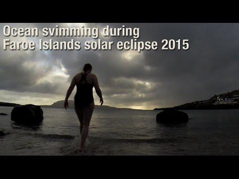 Ocean svimming in the Atlantic during the Faroe Islands solar eclipse 2015