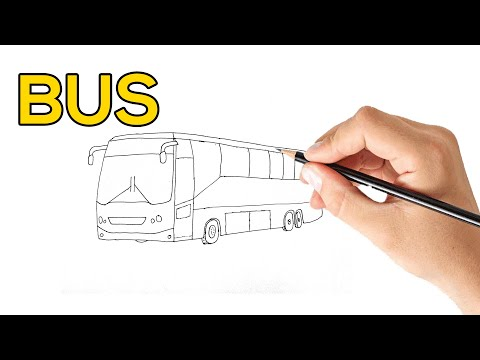 Bus Drawing - How to Draw a Bus Step by Step Easy For Kids | How to Draw a Bus | Easy Drawing