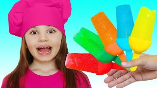 Polina and Niki pretend play cooking | Ice Cream song
