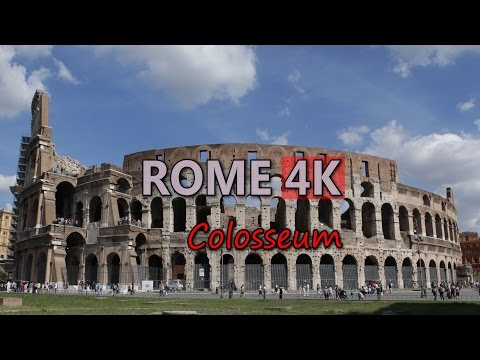 Ultra HD 4K Rome Travel Italy Tourism Colosseum Tourist Attraction Sights UHD Video Stock Footage