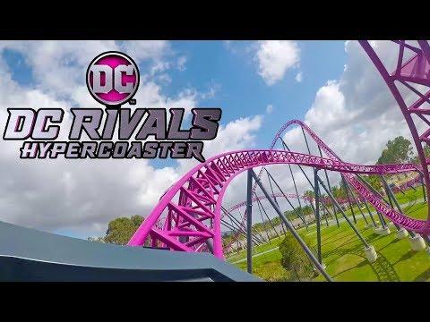 DC Rivals Roller Coaster REAL Front Seat & BACKWARDS POV! Warner Bros Movie World Australia