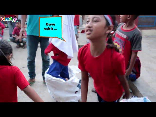 SERUUU...LUCU....Balap Karung Pakai Helm | Almara Ikut Lomba 17 agustus Di Halaman Rumah
