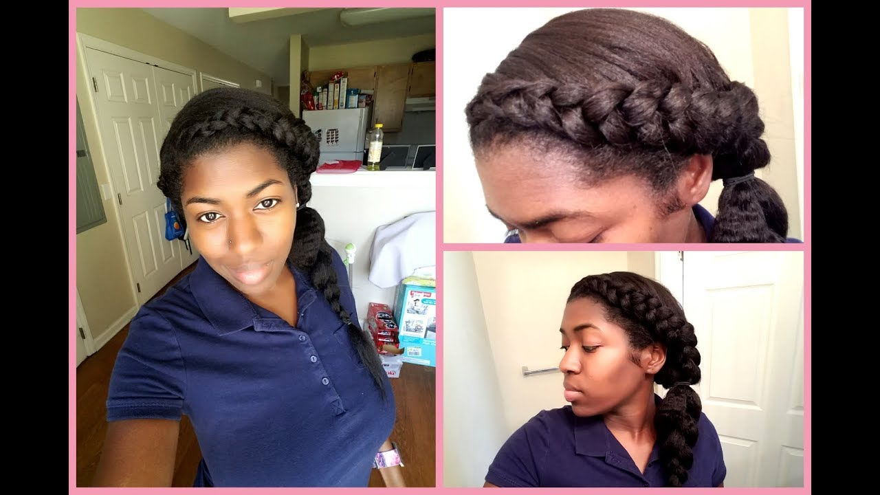 Braided Protective Hairstyle Using Clip In Hair Extensions Youtube