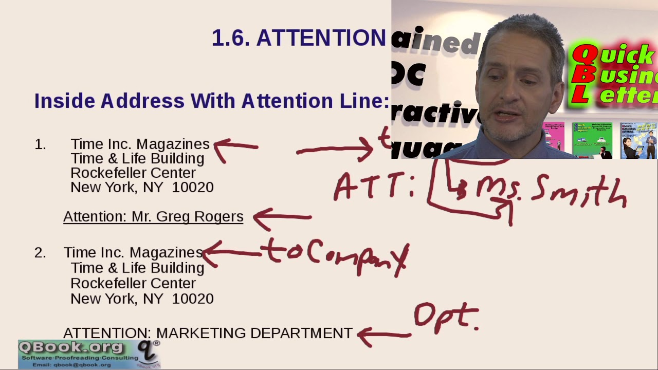 business letter with attention line and subject line