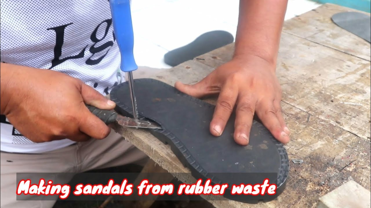 Making sandals from rubber waste