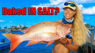 Mutton Snapper Catch Clean Cook! SALT-ENCRUSTED Whole Fish!