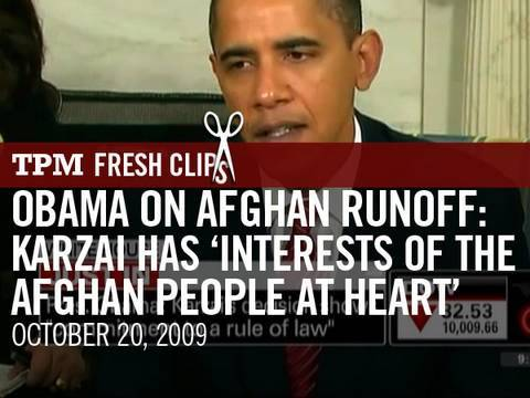 Obama on Afghan Runoff: Karzai Has 'Interests of the Afghan People at Heart'