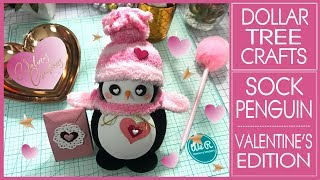 Diy Dollar Tree Sock Penguin   Valentine's Edition   Valentines Day Craft