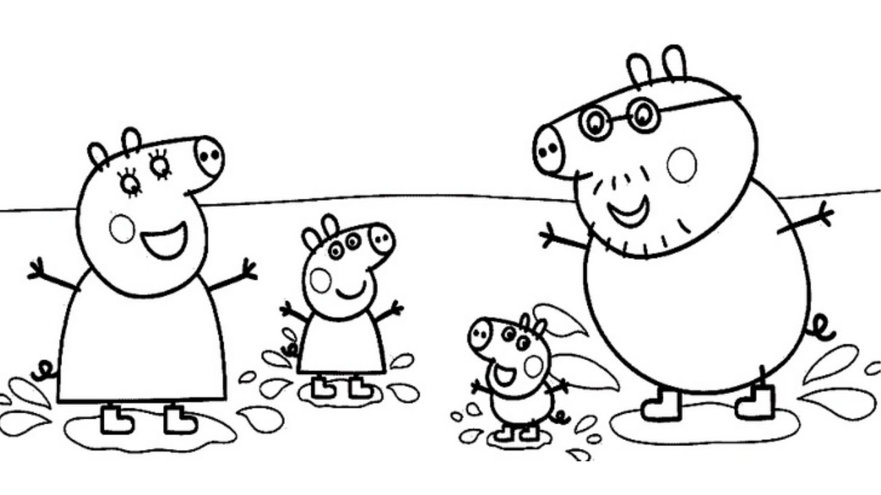 Colouring pages peppa - Peppa Pig Muddy Puddles Jumping Coloring Book Video Pages