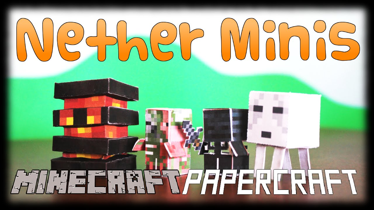 Papercraft DIY Minecraft Papercraft Nether Theme Set (2/2) - Magma Cube, Wither Skeleton, Ghast, Zombie Pigman