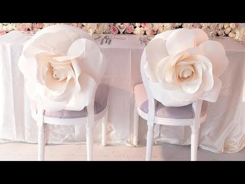 DIY large paper flower decoration on chair / chair decoration / chair sash / wedding reception