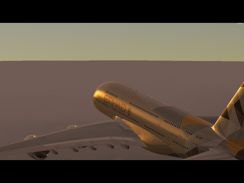 Infinite Flight Simulators broadcast Etihad Airlines Airbus-A380-800/Takeoff Palm Springs Intl..