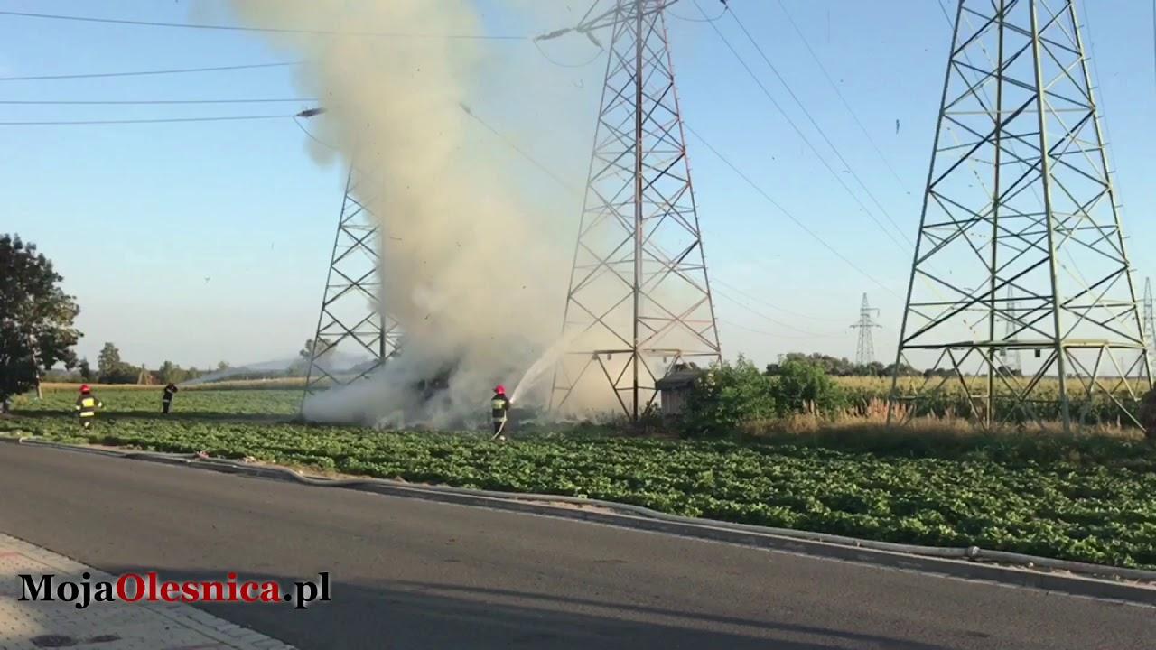 29.08.2017 Oleśnica – pożar przy masztach energetycznych