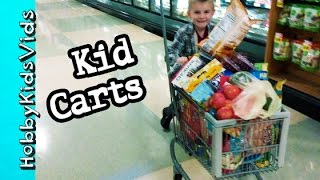 Kid Size Grocery CARTS! Food Shopping + Cook Shrimp Peel N Eat Dinner by HobbyKidsVids