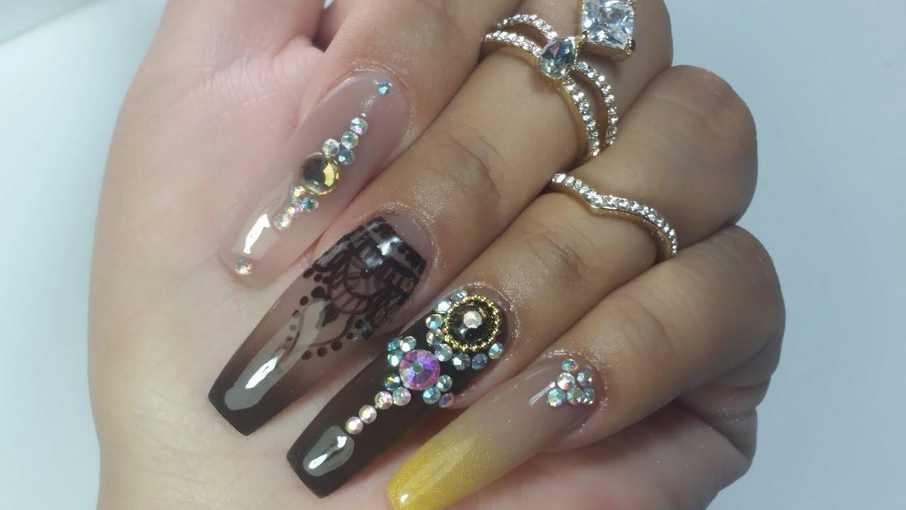 Uñas Acrilicas Con Tatoo De Henna Uñas Estilo Hindu By Sabrina