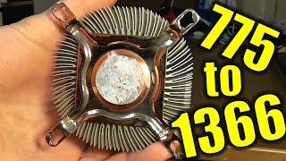 Mounting socket 775 cooler to socket 1366. Lifehack. :)