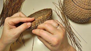 """Начало плетения из сосновых иголок. Плетение узлом """"Соты"""""""