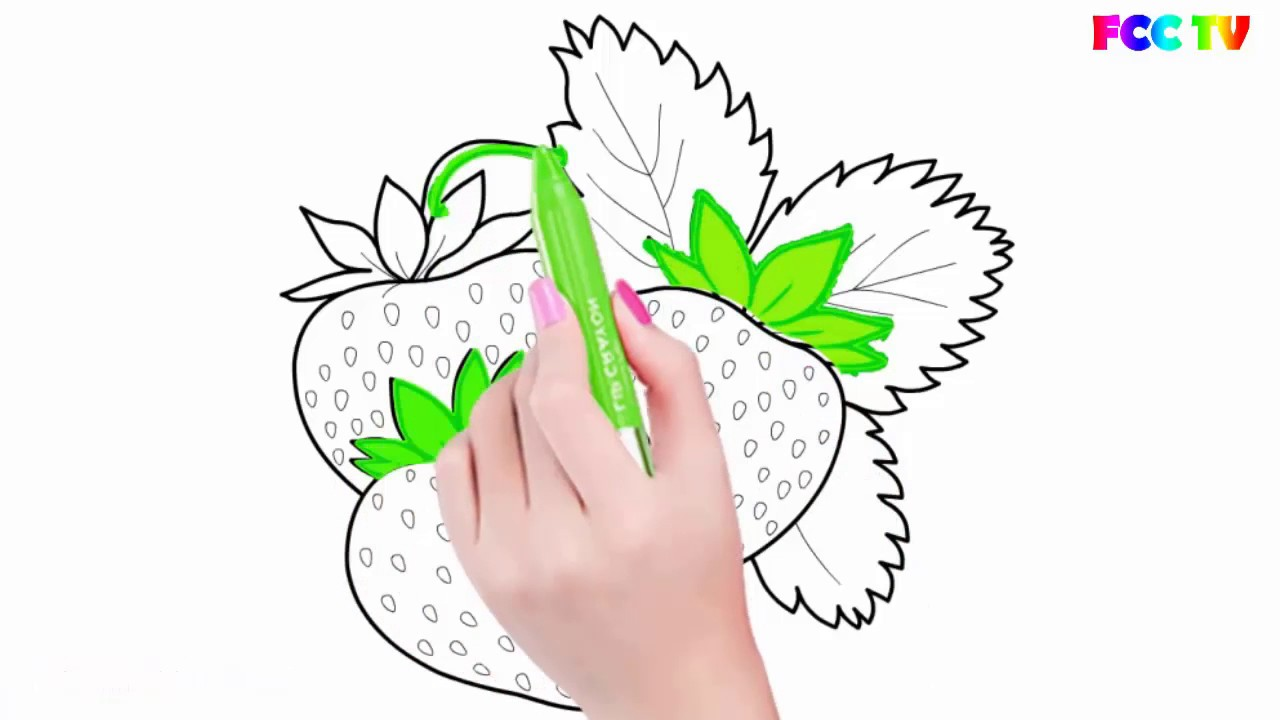 learn to draw strawberry coloring pages drawing and