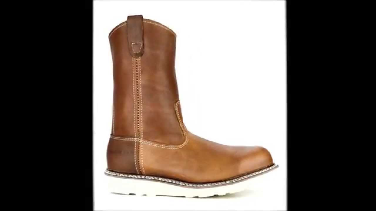 79cceb62427 Men s Carolina CA7504 Wedge Sole Wellington Steel Toe Work Boots USA    Steel-Toe-Shoes.com - YouTube